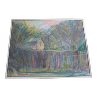 Mid-Century Watercolor Landscape by J. Quint