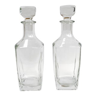 Vintage French Glass Decanters - A Pair