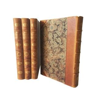 Vintage Danish History Leather Bound Books - Set of 4