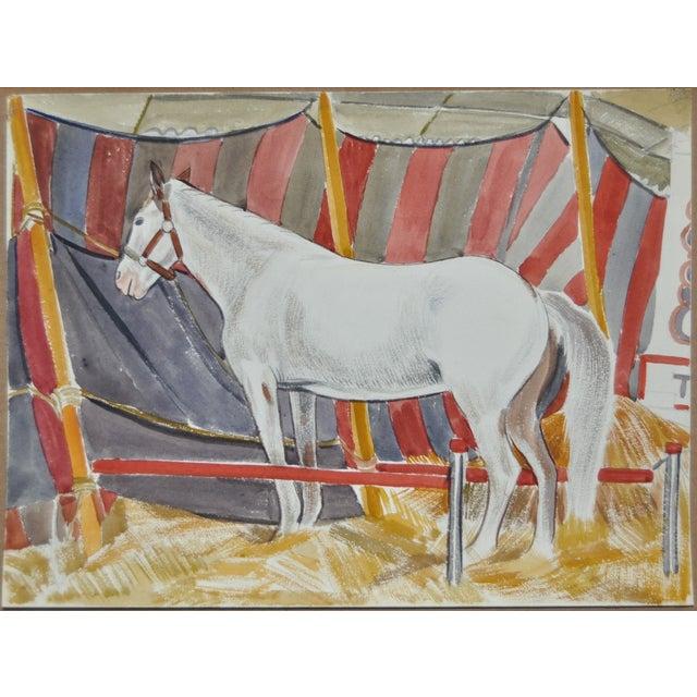 Image of WPA Era Circus Horse Watercolor C.1930