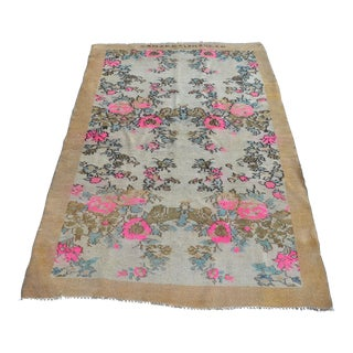 "Colorful Antique Oushak Rug - 42"" x 67"""