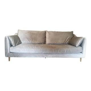 Gray Velvet Down-Filled Sofa