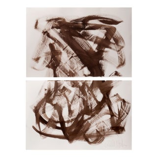 Pair of Brown Abstract Paintings, Unframed