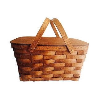 Wood Veneer Picnic Basket