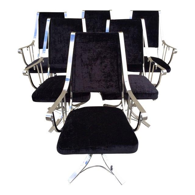Mid-Century Chrome Swivel Chairs- Set of 6 - Image 1 of 11