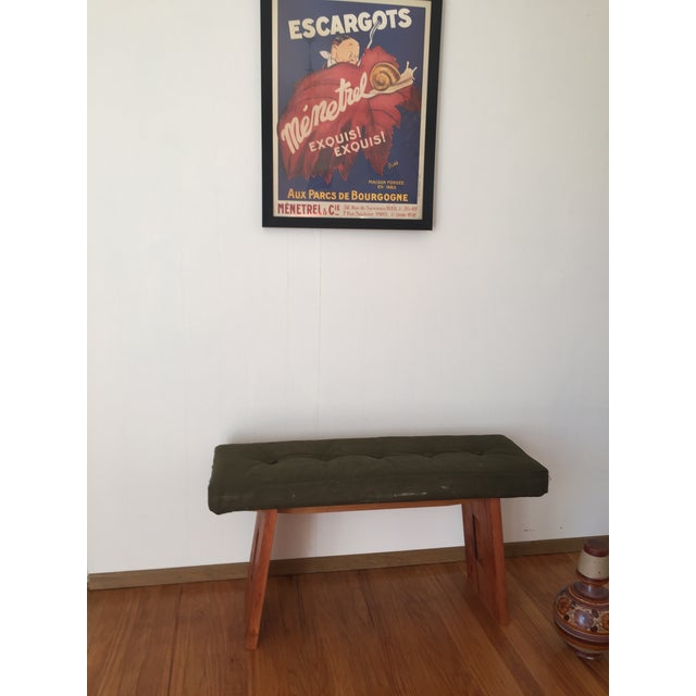 Bench with Vintage Army Upholstery - Image 2 of 7