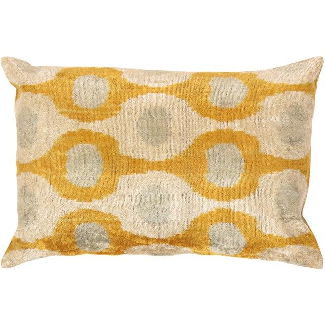 Tan & Mustard Silk Velvet Ikat Pillow - Image 1 of 2
