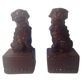 Vintage Brown Adolescent Foo Dogs - A Pair