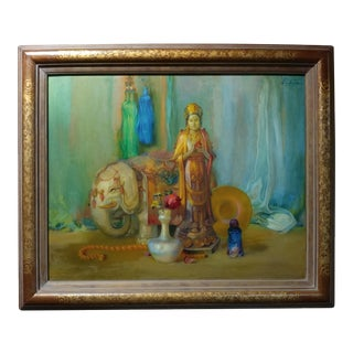 Theodore Lukits Buddha With Jade & Gold Oil Painting
