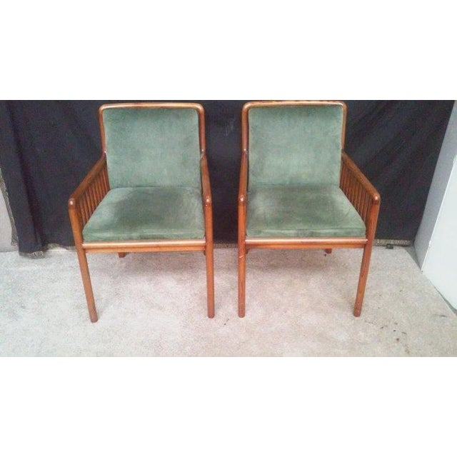 Ward Bennett for Brickel Teak Suede Chairs - A Pai - Image 2 of 7