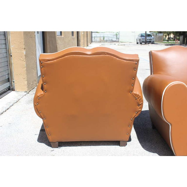 French Art Deco Vinyl Club Chairs - A Pair - Image 6 of 7