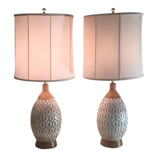 Mid-Century Ceramic Pineapple Table Lamps - a Pair