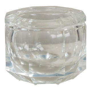 A Hexagonal Lucite Ice Bucket with Swivel Top