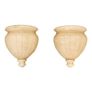 Carved Alabaster Urn Shape Sconces - A Pair