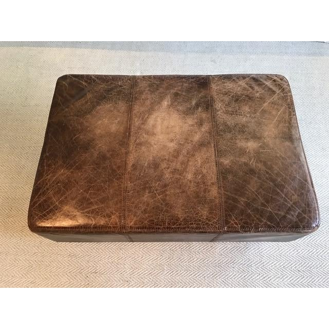Antique Brown Leather Ottoman - Image 2 of 5