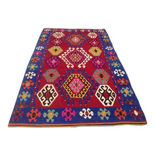 Vintage Turkish Kilim Rug - 5′9″ × 9′7″