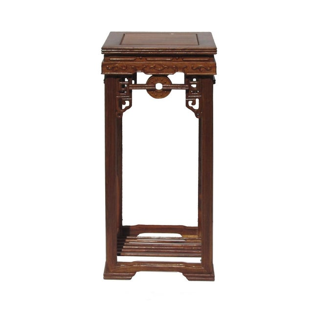 Chinese Rosewood Coin Pattern Square Plant Stand - Image 1 of 5