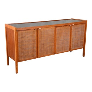 Large Cane Front Credenza by Founders