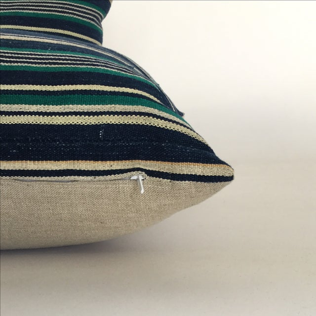 Vintage Indigo Stripe Pillows - Pair - Image 4 of 4