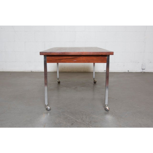 Large Rosewood Rolling Coffee Table - Image 4 of 8