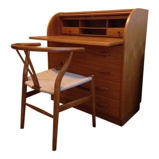 Danish Secretary Desk & Wishbone Chair - A Pair