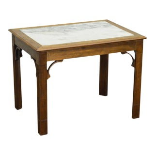 Chippendale Style Custom Walnut Marble Top Side Table