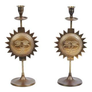 Mid-Century Sun Candle Holders - A Pair