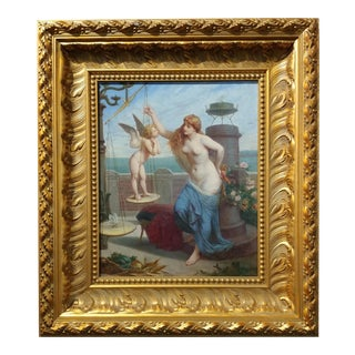 Henry-Pierre Picou -Nymph & Cupid's Arrows -19th century Important Oil painting -1894