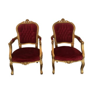 Red Velvet Louis XVI Gilt Chairs - A Pair