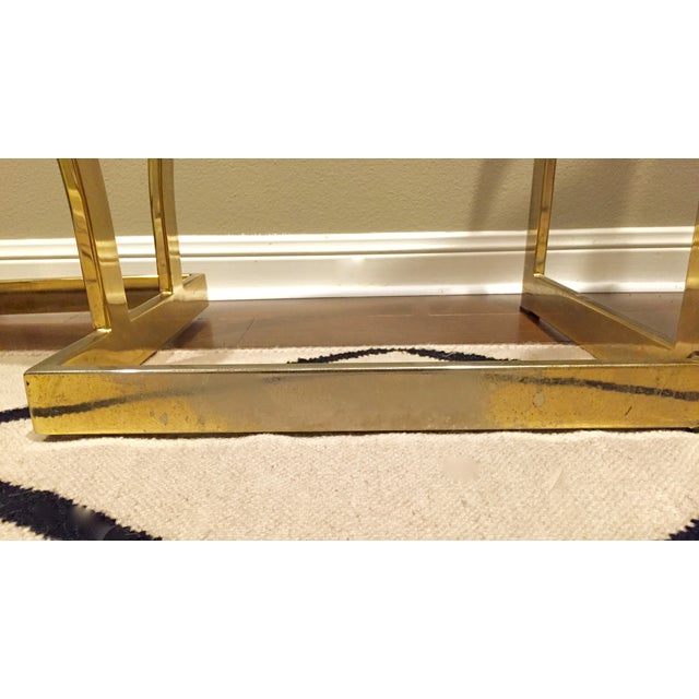 Vintage 1970s Brass & Glass Console Table - Image 9 of 9