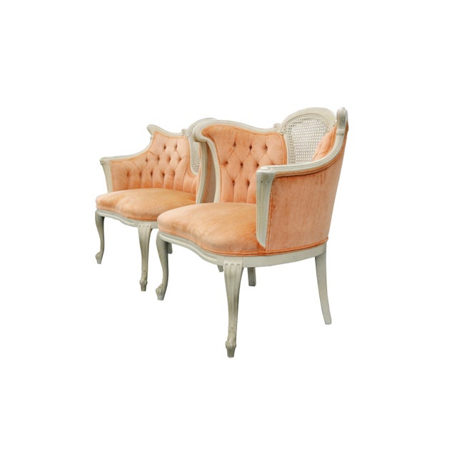 Image of Peach Tufted Velvet Bergere Chairs- A Pair