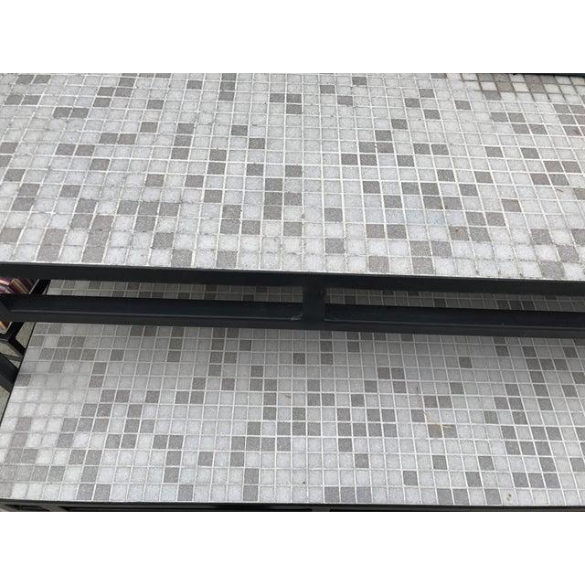Iron & Mosaic Tile Dining Set - Set of 5 - Image 7 of 11