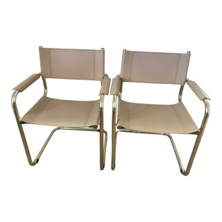 Mart Stam Brass/Tan Cantilevered Chairs - a Pair