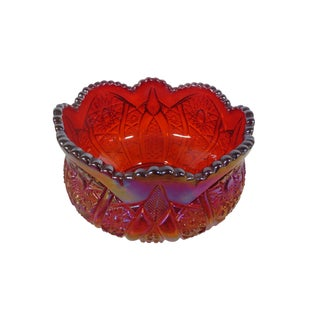 Red Carnival Glass Candy Dish