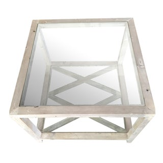 Side Tables Gray-Wash Glass Top - a Pair