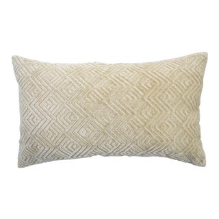 Italian Geometric Cream Linen Velvet Lumbar Pillow