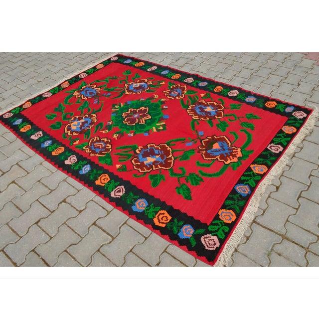 Turkish Hand-Woven Wool Kilim Rug - 5′3″ × 7′5″ - Image 3 of 8