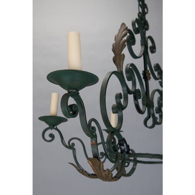 French 6-Light Green Wrought Iron Chandelier - Image 5 of 5