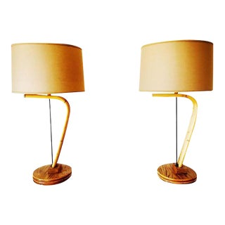 1950s Bent Rattan Boho Chic Lamps - a Pair