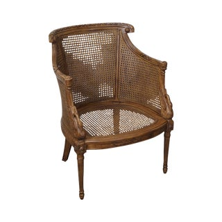 Regency Style Swan Carved Cane Bergere Chair