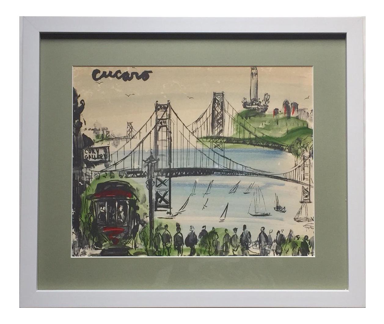 Mid Century Modern Art Abstract San Francisco Watercolor Pascal Cucaro    Image 1 Of 11