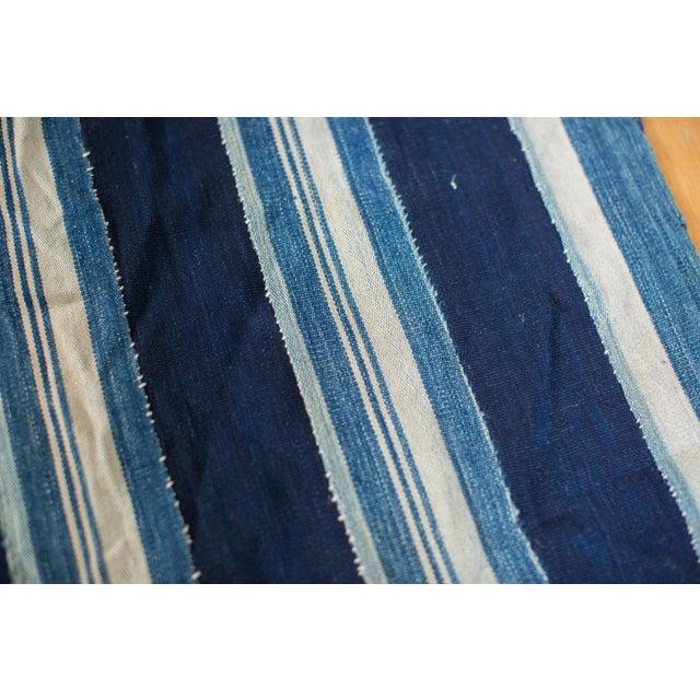 "Indigo Blue Striped Throw - 1'10"" x 4'3"" - Image 3 of 4"