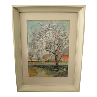 Impressionist Watercolor Landscape Painting of Farm in Spring