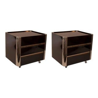 Pair of French Black Lacquer and Chrome Night Stands