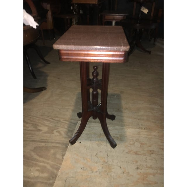 Antique Marble Side Table Reading: Antique Marble Top Eastlake Style Side Table