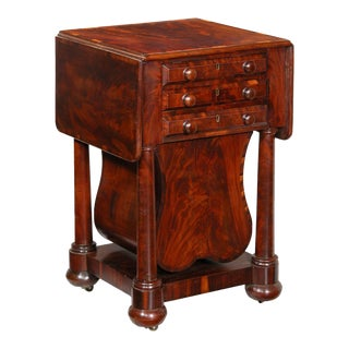 Crossbanded & Figured Mahogany Worktable with Rare Lyre basket