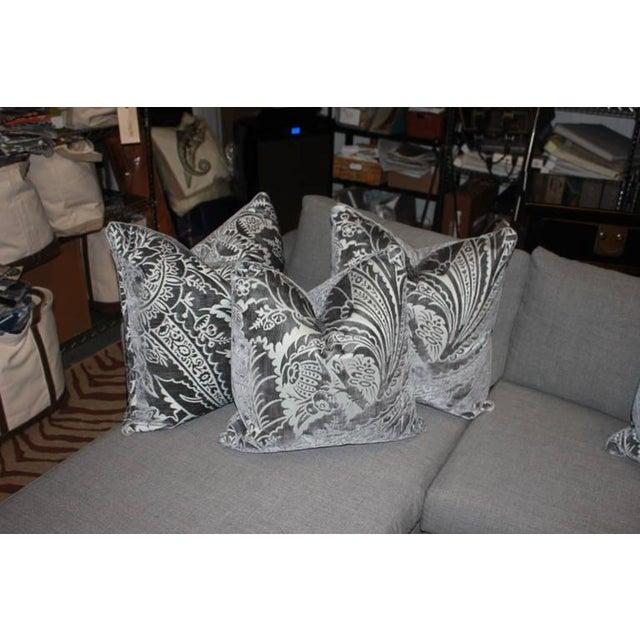 Charcoal Silk/Velvet Pillows - Set of 4 - Image 2 of 6