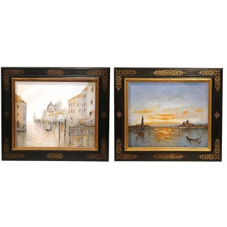 Mid-20th Century Oil on Canvas Venice Paintings in Decorative Frames - a Pair