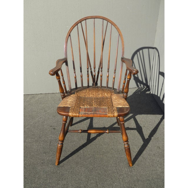 Solid Oak Windsor Chairs ~ B s co solid wood rush seat rustic windsor arm chair