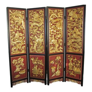 Asian Carved Giltwood Red & Black Lacquer Screen